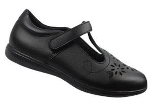 Girls black leather T-Bar school shoes