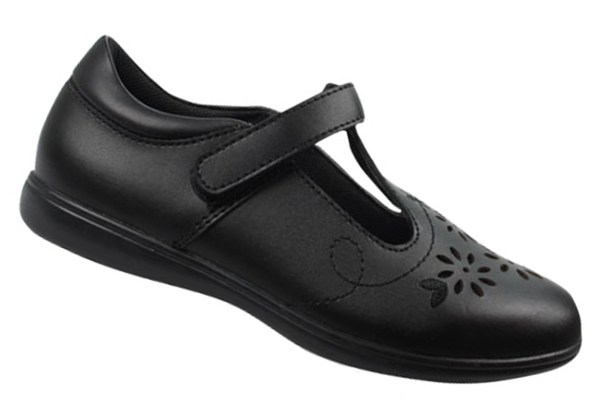 Girls black leather T-Bar school shoes-0