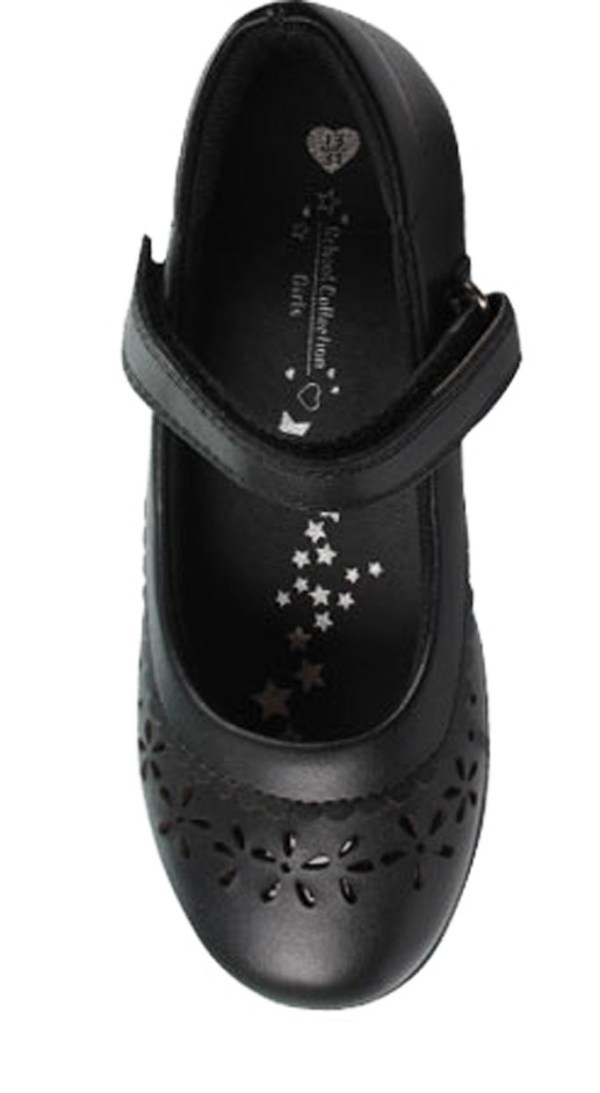 Girls black leather school Mary Jane shoes-4759