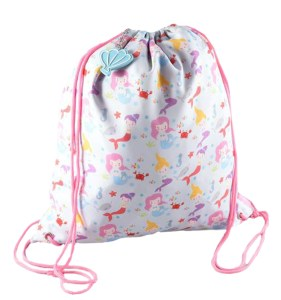 Girls mermaid drawstring kit bag