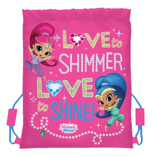 Girls Shimmer Shine pink drawstring kit bag -4802