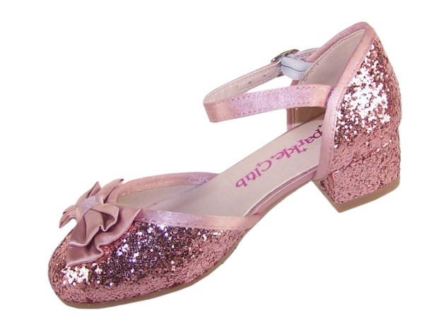 Girls dusky pink glitter low heeled party shoes-4870