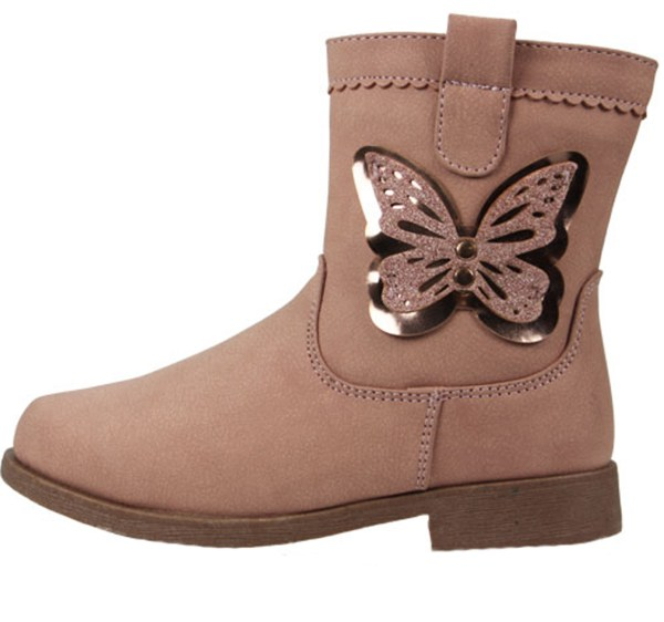 Girls pale pink ankle boots with butterfly trim-4854