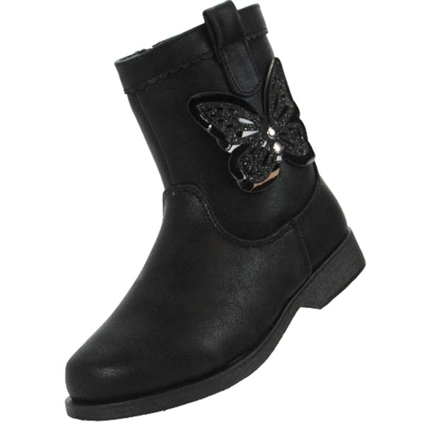 Girls black ankle boots with butterfly trim-4906