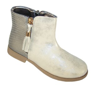 Girls pale gold shimmer PU tassle ankle boots