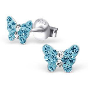 Girls blue butterfly crystal stud earrings