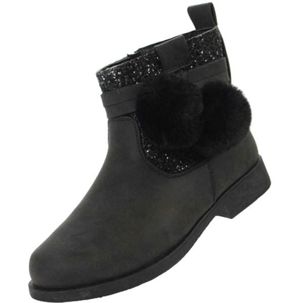Girls sparkly black ankle boots with black pom poms-4910