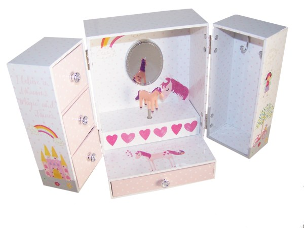 Unicorn and fairies sparkly musical jewellery wardrobe -5166