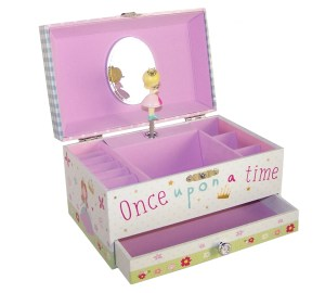 Girls rectangular princess musical jewellery box