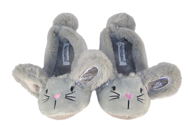 Childrens silver grey furry mouse slippers-5115