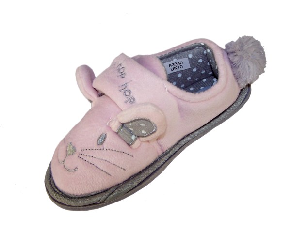 Infant girls pink and silver mouse slippers-0