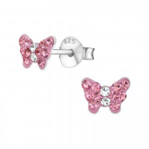 Girls pink butterfly crystal stud earrings