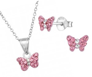 Girls pink crystal butterfly sterling silver necklace and earrings set