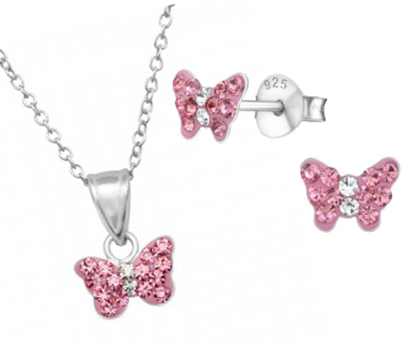 Girls pink crystal butterfly sterling silver necklace and earrings set-0