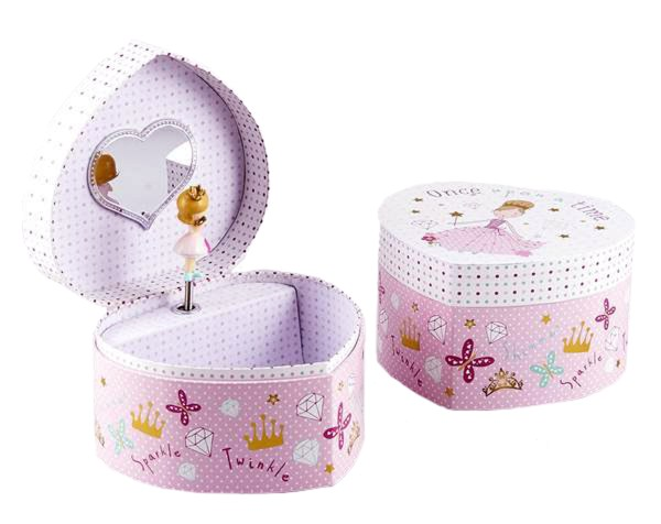 Girls princess pink heart musical jewellery box -5197