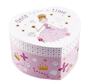 Girls princess pink heart musical jewellery box