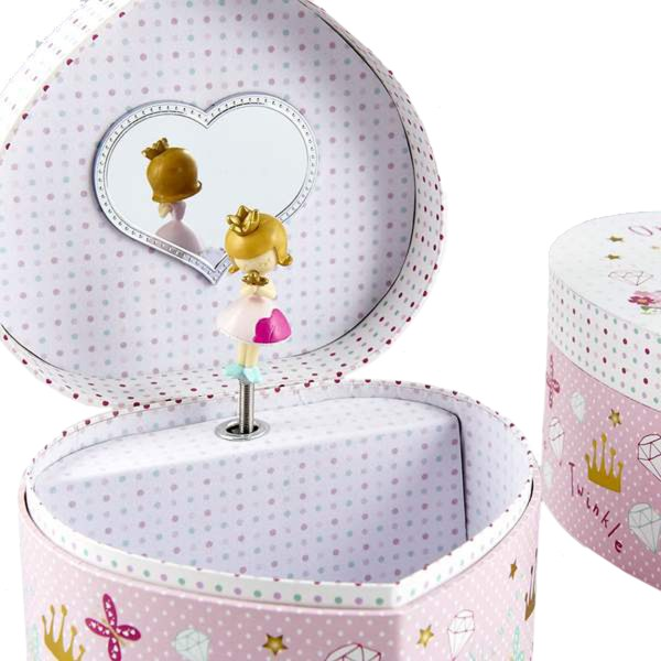 Girls princess pink heart musical jewellery box -5198