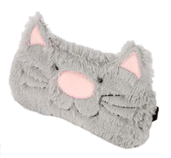 Childs grey furry cat eye mask-0