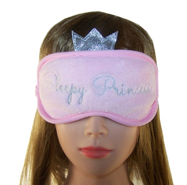 Childs pink plush princess eye mask-5220