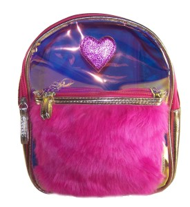 Childrens gold and pink hologram backpack