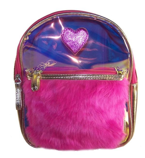 Childrens gold and pink hologram backpack-0