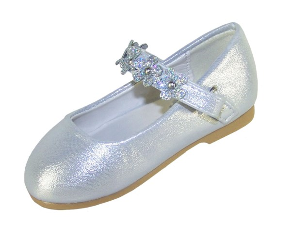 Infant girls silver occasion shoes with sparkly flowers-5262