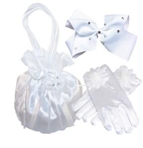 Girls white satin drawstring dolly bag and pearl gloves set