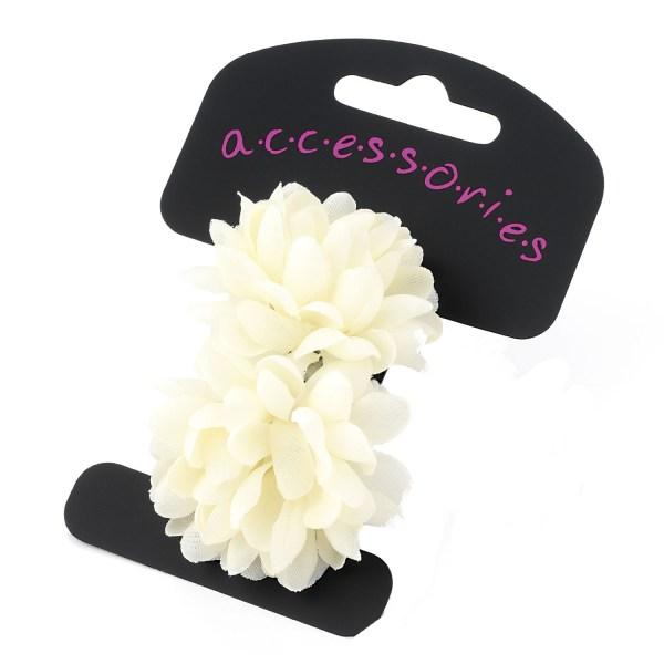 Girls ivory 2 piece flower hair elastics-0