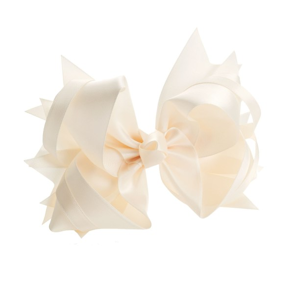 Girls ivory cream satin look large bow hair clip-0