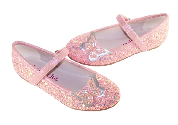 Girls pink sparkly glitter ballerina party shoes with butterfly trim-5308