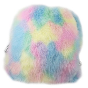 Girls rainbow coloured faux fur backpack