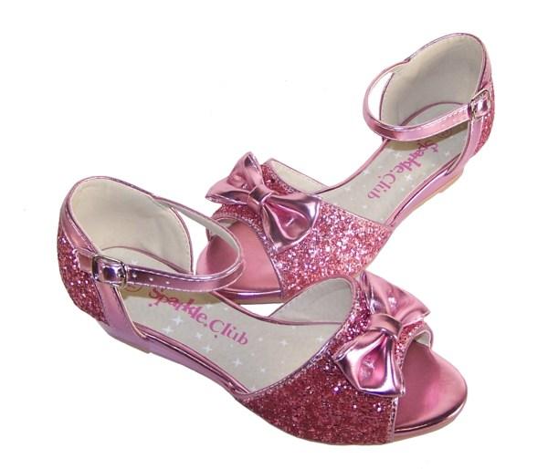 Girls pink sparkly glitter wedge sandals-5381