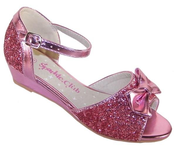 Girls pink sparkly glitter wedge sandals-0