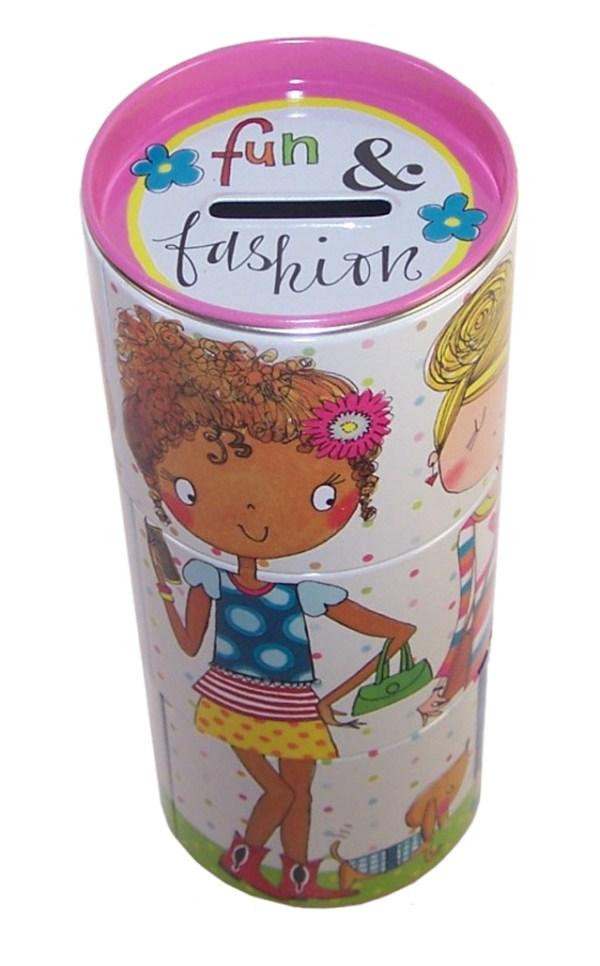 Girls fun colourful tin money box-5369