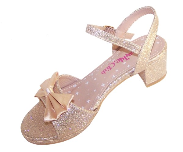 Girls pale gold sparkly party heeled sandals-5441
