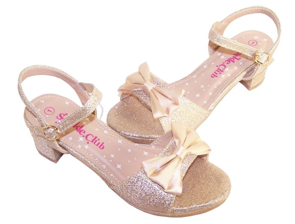 Girls pale gold sparkly party heeled sandals-5444