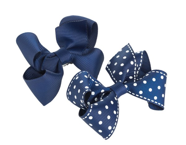 2 navy blue bow girls hair clips-0