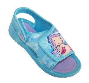 Girls blue mermaid casual sandals