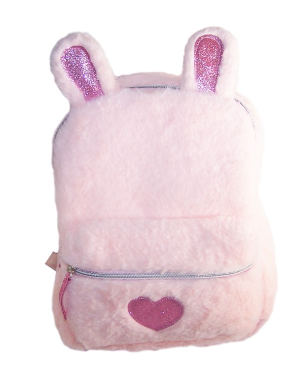 Girls pink faux fur sparkly bunny backpack-0