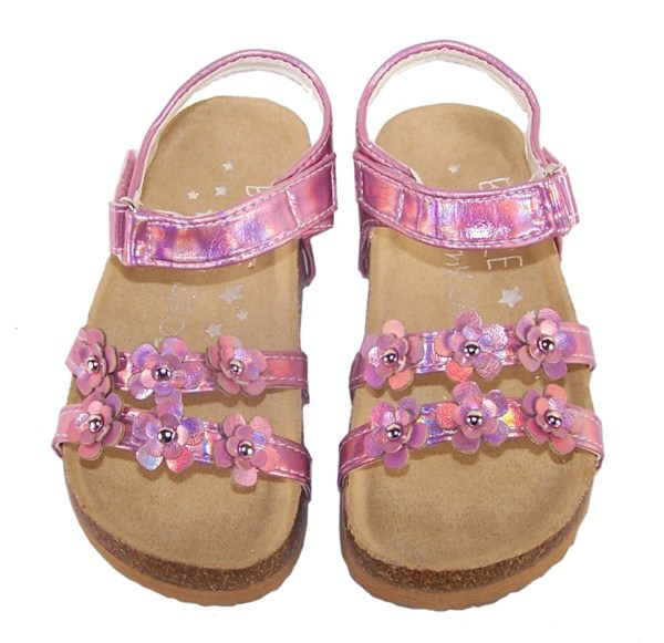 Young girls pink footbed sandals-5487