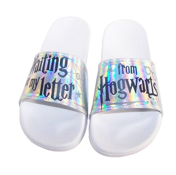 Childrens white Harry Potter slider sandals-5557