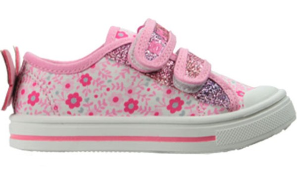 Girls pink and white sparkly butterfly trainers-5481