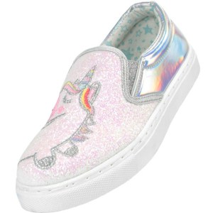 Girls shiny silver and pink glitter unicorn slip on skate shoes