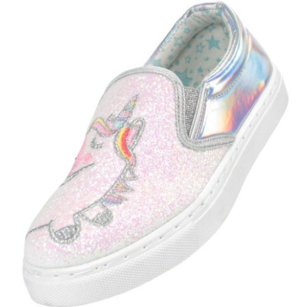 Girls shiny silver and pink glitter unicorn slip on skate shoes-0