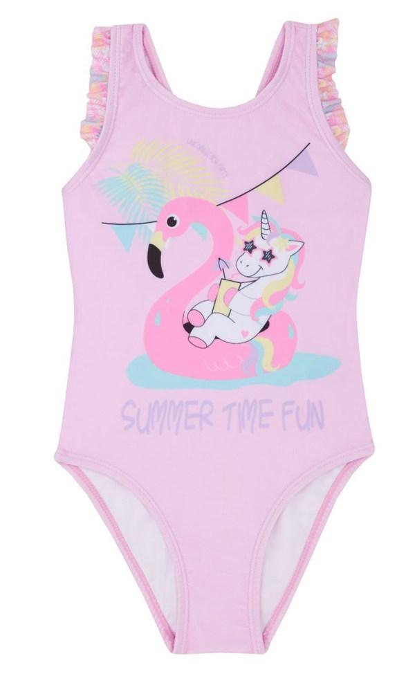 Girls pale pink flamingo swimming costume-0
