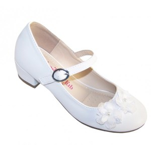 Girls white low heeled special occasion shoes with flower trim