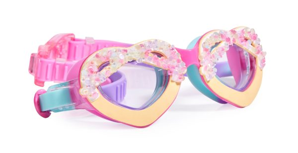 Girls multi coloured heart sparkly swimming goggles-0
