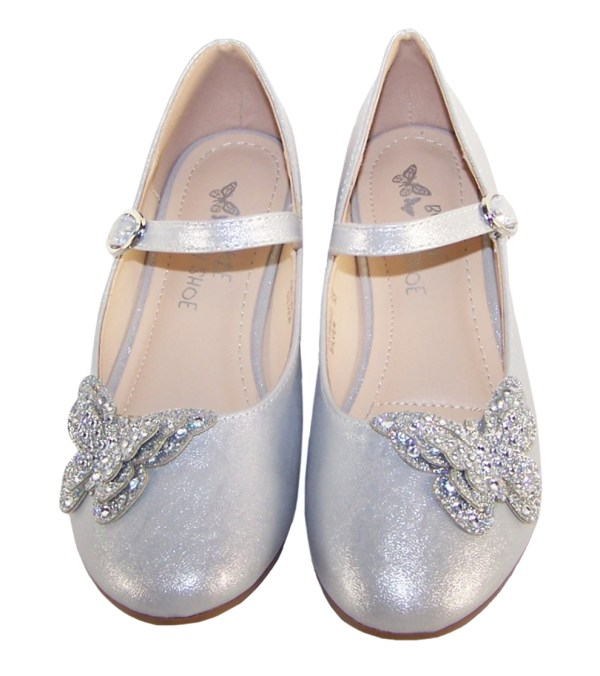 Girls silver heeled party shoes with glitter butterfly-5728