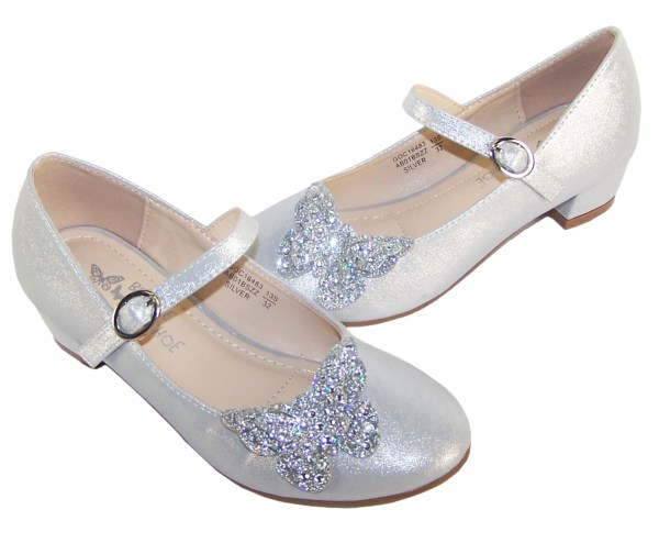 Girls silver heeled party shoes with glitter butterfly-5730