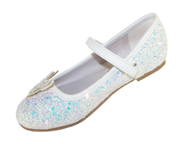 Girls white sparkly glitter ballerina party shoes with butterfly trim-5706